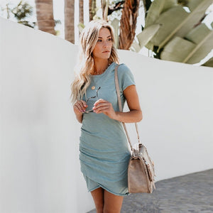 f0c5f8084d603 2018 New Fashion Summer Dress Women Plus Size Casual Short Sleeve O Neck  Short Pencil Dress