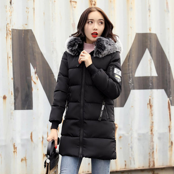 2018 New Fashion Women Winter Jacket With Fur collar Warm Hooded Female Womens Winter Coat Long Parka Outwear Camperas