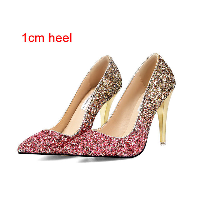 2018 New High thin heels shoes women pumps bling wedding Bridal shoes classic 1cm 5.5cm or 8.5cm pointed toe evening party shoes - MASTYLES ONLINE EXPRESS