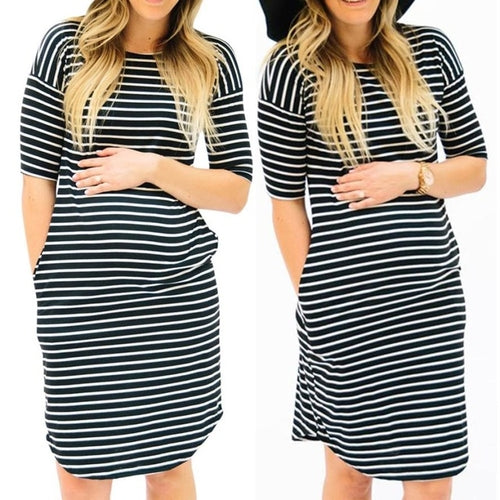 2018 New Hot Womens Pregnants O-Neck Stripe - MASTYLES ONLINE EXPRESS
