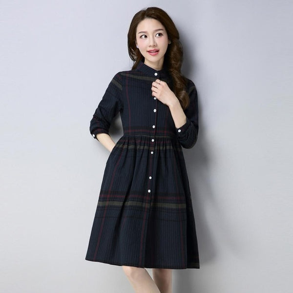 2018 New Spring women red plaid cotton Shirt brand dress girls casual stripe dresses office lady clothes - MASTYLES ONLINE EXPRESS