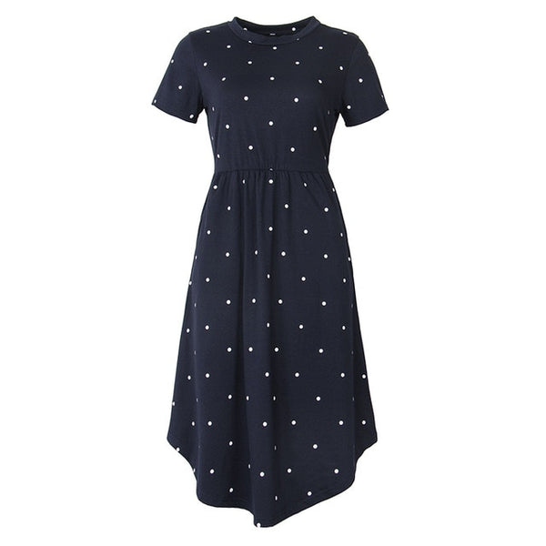 2018 New Women Vintage Dress Robe Femme Casual Loose A-line Midi Dress O-neck Pockets Polka Dot Dress Pleated Plus Size GV515