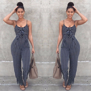 2018 Newly Summer Women Ladies Fashion Casual Jumpsuit Sleeveless Slim Blue Striped Bow O-Neck Jumpsuits Size S/M/L/XL - MASTYLES ONLINE EXPRESS