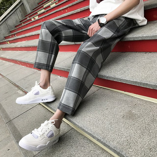 2018 Plaid Grey Pants men Korean Style New Youth Men's Popular Trend Loose Casual High-quality streetwear Trousers M-2XL - MASTYLES ONLINE EXPRESS