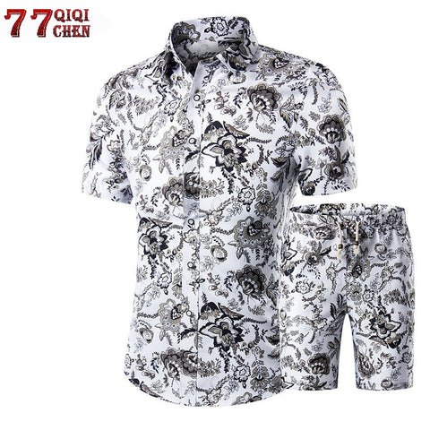 2018 Summer Fashion Floral Print Shirts Men+Shorts Set Men Short Sleeve Shirts Casual Men Clothing Sets Tracksuit Plus Size 5XL