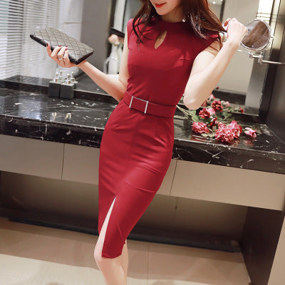 2018 Summer Hollow Out Bodycon Pencil Dress Women Red Black Sleeveless O-neck Dress Casual Office Lady Elegant Party Dresses - MASTYLES ONLINE EXPRESS