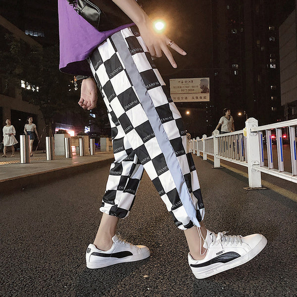 2018 Summer Korean Streetwear Striped Print Noctilucent Leisure Pants Men Funny Haren Hip Hop Joggers Sweatpants Homme M-5XL - MASTYLES ONLINE EXPRESS