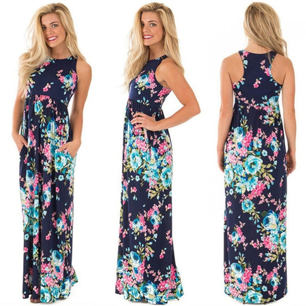 2018 Summer Long Dress Floral Print Boho Beach Dress Tunic Maxi Dress Women Evening Party Dress Sundress Vestidos de festa XXXL