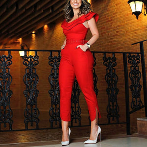 2018 Summer New Fashion Women Stylish Elegant Jumpsuit Layered Ruffle Split Leg Slinky Jumpsuit Female Overall - MASTYLES ONLINE EXPRESS