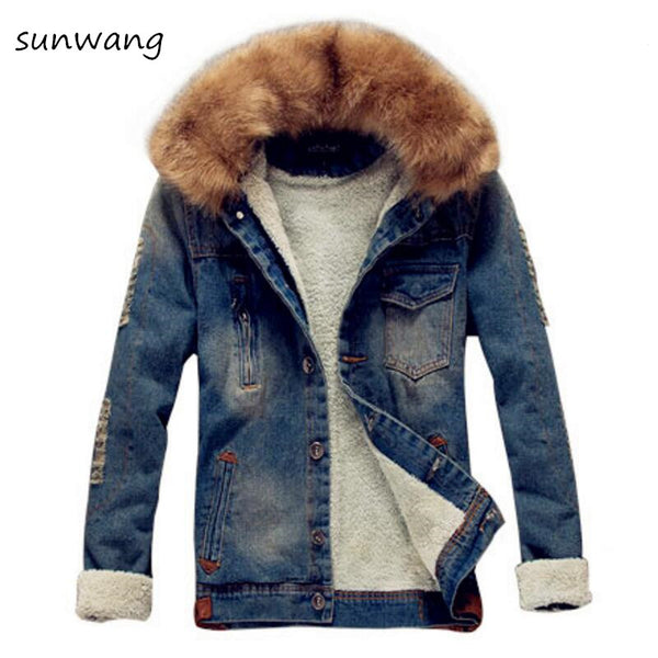 2018 Winter Ripped Denim Jacket Men Clothing Jean Coat Men Casual Jacket Outwear With Fur Collar Wool Thick Clothes Plus Size