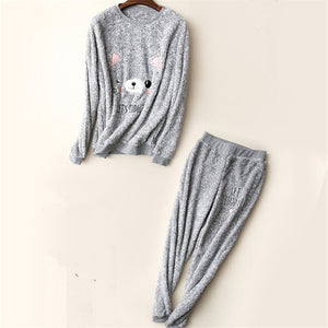 2018 Winter Thick Women Pajama Sets Flannel Warm 2 PCS Pajamas Coral Fleece Suits Sleepwear Autumn Pyjamas set Women's Homewear