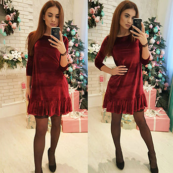 2018 Women New O-neck Solid color A-Line dress Autumn winter Fashion Vintage VelvetKeep warm elegant Ruffle Big pendulum dresses