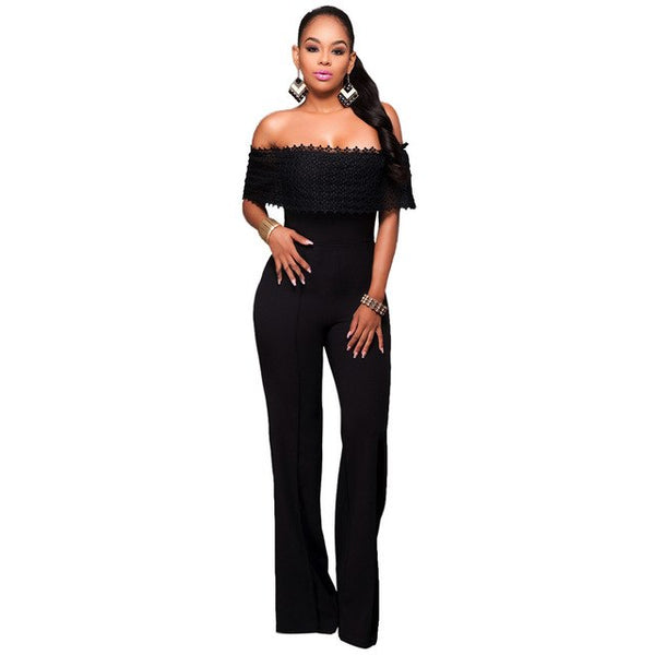 2018 latest autumn winter casual Siamese trousers fashion solid sexy Bra Lace off the shoulder women pants jumpsuit SC019 - MASTYLES ONLINE EXPRESS