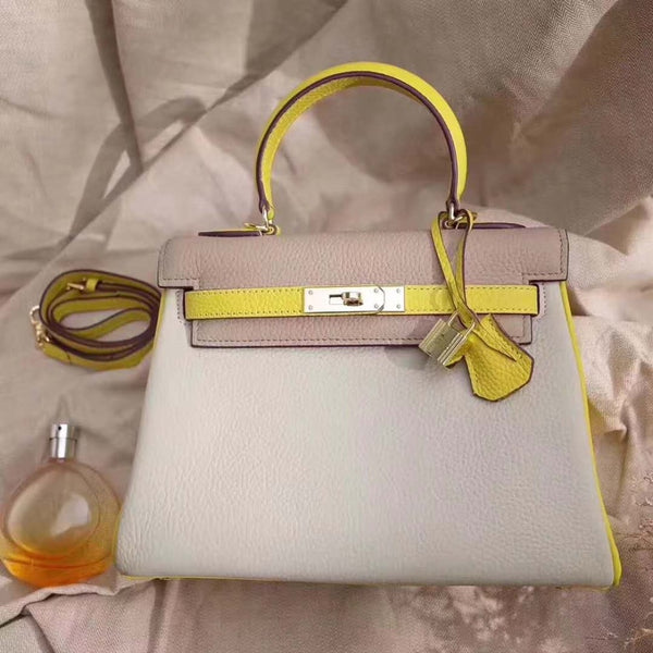 2018 latest genuine cow leather skin mixed colors top handle lady shoulder bag with locker and key double colors cow skin bag - MASTYLES ONLINE EXPRESS