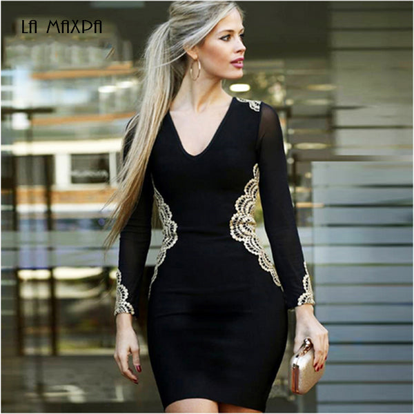 2018 latest summer bandage dress women's celebrity party long-sleeved V-neck embroidery sexy dress women's bodycon Vestidos - MASTYLES ONLINE EXPRESS