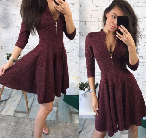 2018 summer Fashion Women Bust Zippers Dress Solid Pleated V-neck Sexy Ladies Dresses Evening Party Bodycon Mini Dress vestidos - MASTYLES ONLINE EXPRESS