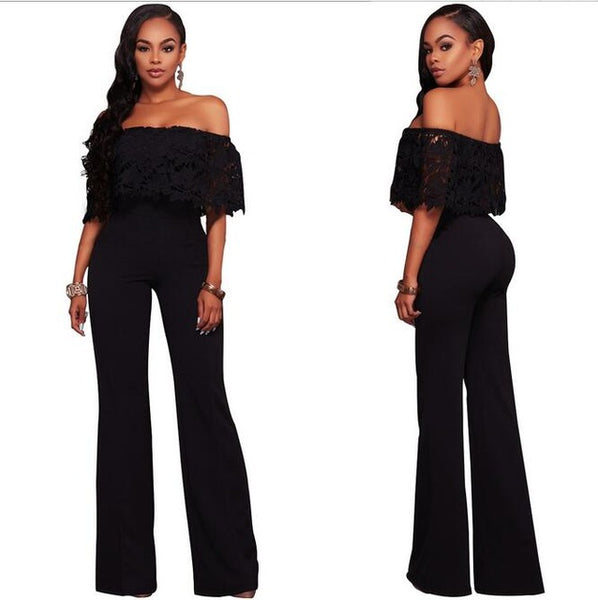 2018 summer women's latest fashion Sexy Slash neck Hollow Stitching Pleated lotus leaf high waist Wide leg pants - MASTYLES ONLINE EXPRESS