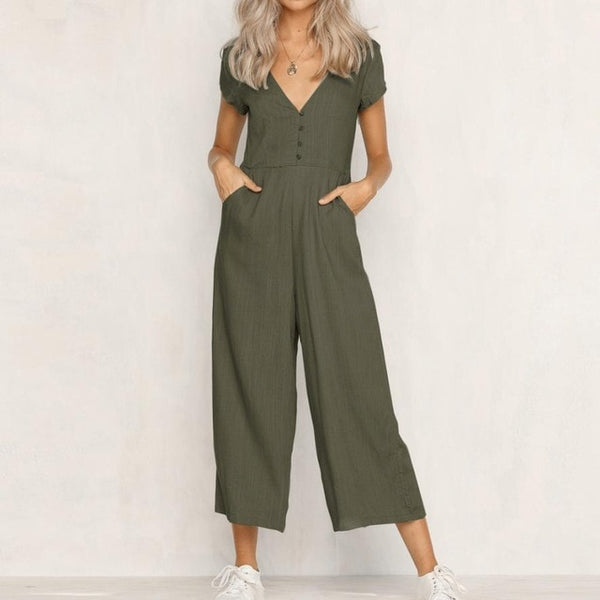 2018 summer womens romper  V-Neck Short Sleeve Strappy Holiday Long Playsuits Trouser Jumpsuit mamelucos womens jumpsuit  x3067 - MASTYLES ONLINE EXPRESS