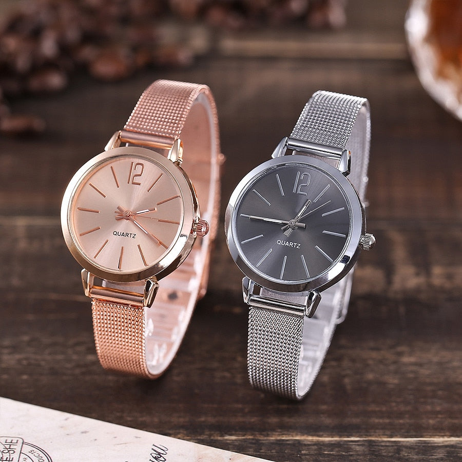 2018 women watches bracelet ladies  Casual Quartz Stainless Steel Band