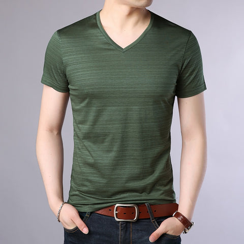 2019 New Fashion Brand T Shirts Men Solid Color V Neck Trends Streetwear Tops Summer Top Grade Short Sleeve Tshirts Men Clothing