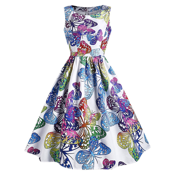 Vintage Butterfly Print Flare Dress