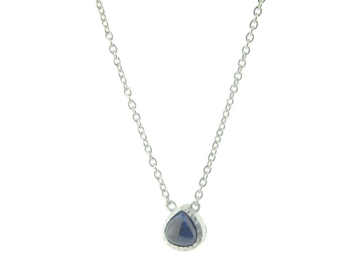 Blue CZ Rain Drop Necklace