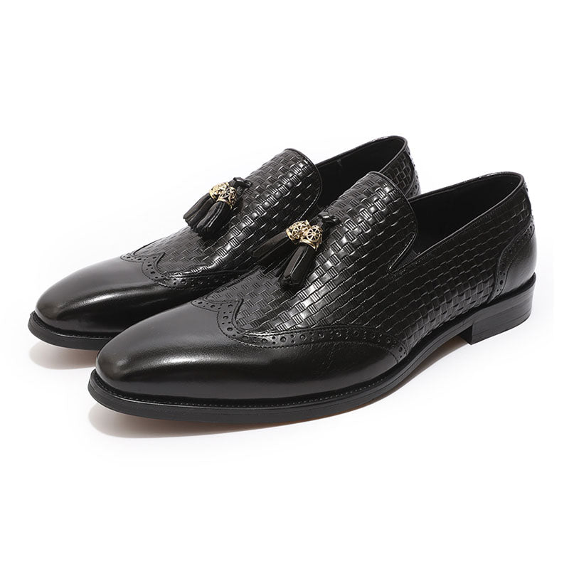 Luxury mens wingtip tassel loafers black brown genuine leather wedding party pointed toe brogue dress shoes man's casual shoes