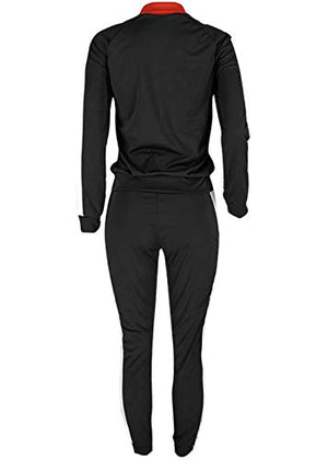 Women Tracksuit Sets Color Block Full Zip Hoodie and Long Pant 2 Piece Outfits: