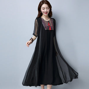 #3974 Spring Summer Red/Black Embroidery Fake Two Piece Round Neck Ruffle Pleated Vintage Dress Women Short Sleeve Loose Solid