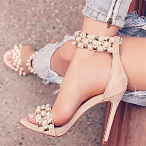 BAYUXSHUO Fashion Summer Sandals Women Luxury Rivet High Heels Suede Leather Sexy Roman Stiletto Ladies Club Party Shoes Woman - MASTYLES ONLINE EXPRESS