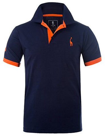 Glestore Mens Polo Shirts MT1030 Golf Tennis Shirt Giraffe Dark Blue L: Amazon.co.uk: Clothing