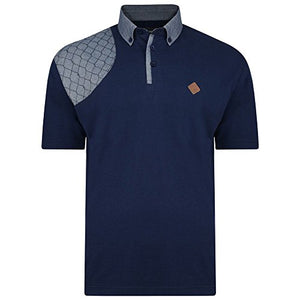 Kam Jeanswear Men's Honeycomb Stitch Short Sleeve Polo Shirt-Blue-3XL: Amazon.co.uk: Clothing