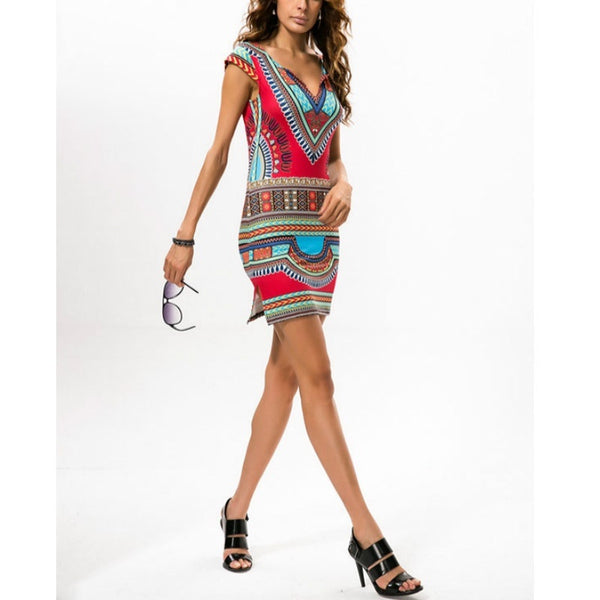 Sexy Women Summer Traditional African Print V-Neck Dress