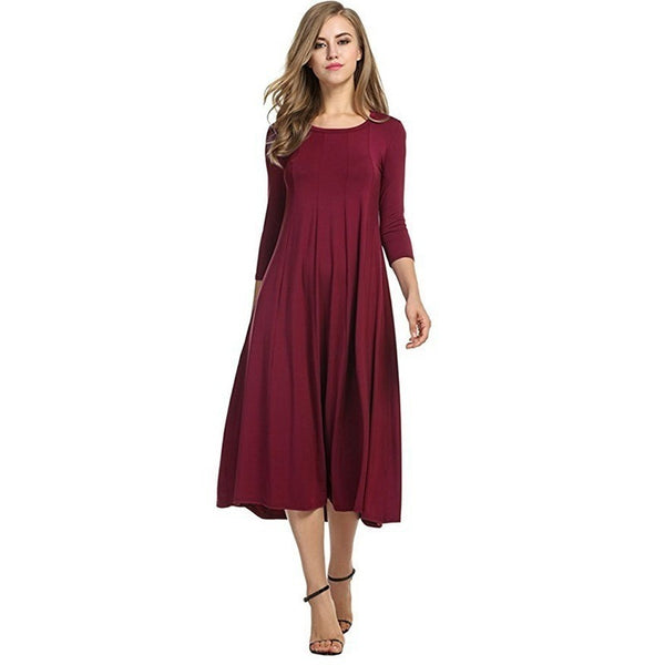 2017 Women s Wear Spring And Winter Pure Color Loose Round Collar Long Sleeves Skirt  Dress Top