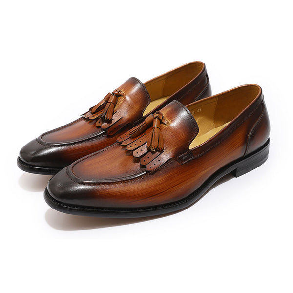 Mens Tassel Loafers Genuine leather shoes formal