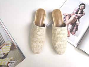 Ladies Shoes2018 Fashion Summer Women Weaving Mules Point Toe Women Cane Flat Slippers Spring Autumn Women Slides Size 34-38