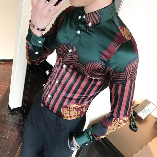 2017 Hawaiian Shirts Summer Style Men Long Sleeve Floral Dress Shirts Unique Shirt Fashion Floral Print Luxury Harajuku Hipster - MASTYLES ONLINE EXPRESS