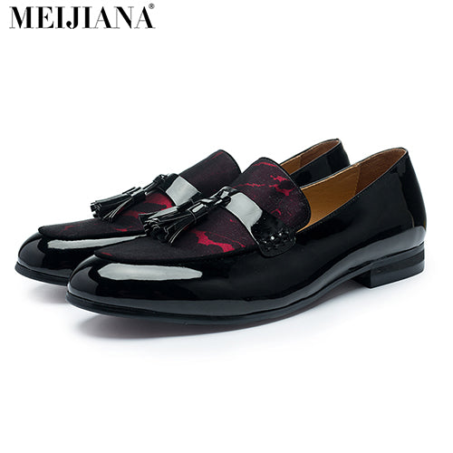 MeiJiaNa Brand Fashion Soft Artificial Leather Breathable Men's Shoes Slip-on Mocassins Men Loafers Red