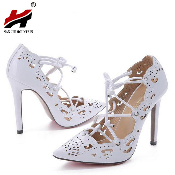 Women Pumps 2017 Brand Sexy High Heels Wedding Party Woman Shoes Gold and White Heels Zapatos Mujer Plus Size 35-43