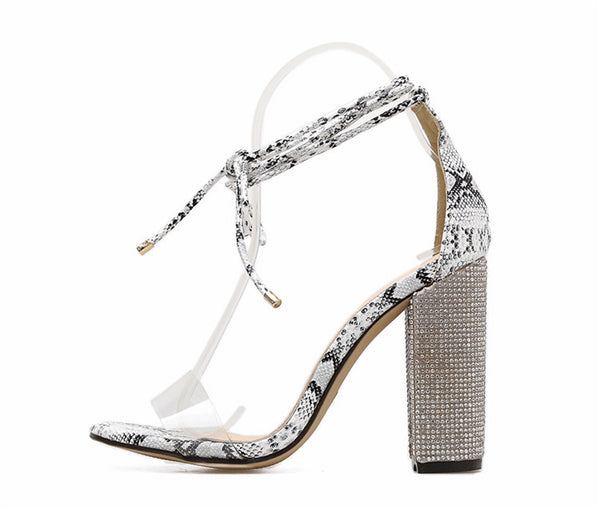 NAUSK Women Heeled Sandals Bandage Rhinestone Ankle Strap Pumps Super High Heels 10.5 CM Square Heels Lady Shoes