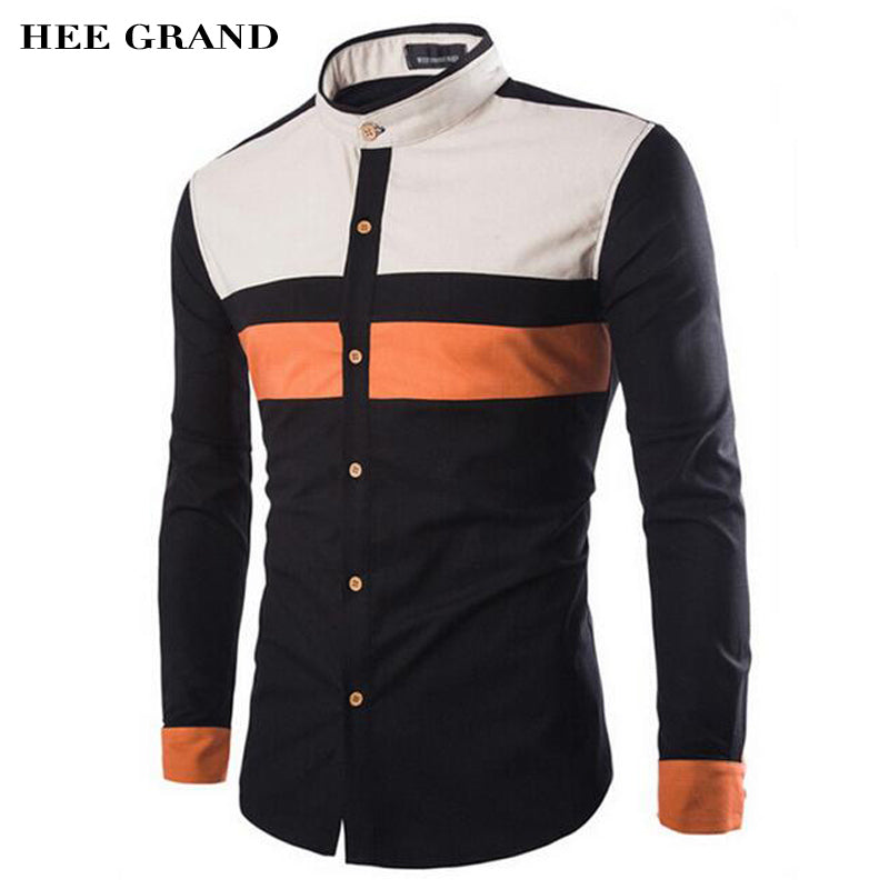HEE GRAND Men's Shirts 2017 New Arrival Fashion Geometric Slim Casual Stand Collar Camisa Masculina M-3XL Plus Size MCL1092