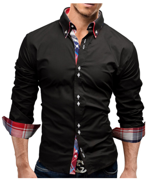 2018 Fashion Mens Long-Sleeves Tops Double collar business shirt 3XL