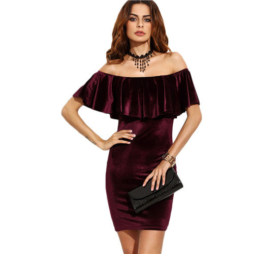 SHEIN Womens Dresses New Arrival Sexy Club Dresses Burgundy Ruffle Off The Shoulder Short Sleeve Velvet Bodycon Mini Dress