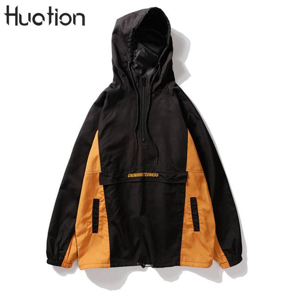 Huation Color Block Patchwork Jacket Men 2017 New Fashion Pullover Front Half Zipper Hip Hop Jackets Men Coat Moleton Masculino