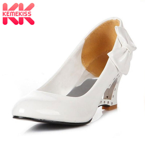 KemeKiss wholesale new women's high-heeled shoes wedges Bowtie high heel shoes woman platform wedding shoes P11860 euro 34 - 43