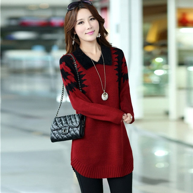 9149519b6a6 ... ASLTW Women s sweater Dress 2018 New Fashion casual Long Pullover Slim Sweater  Long sleeve lapel Sweater ...