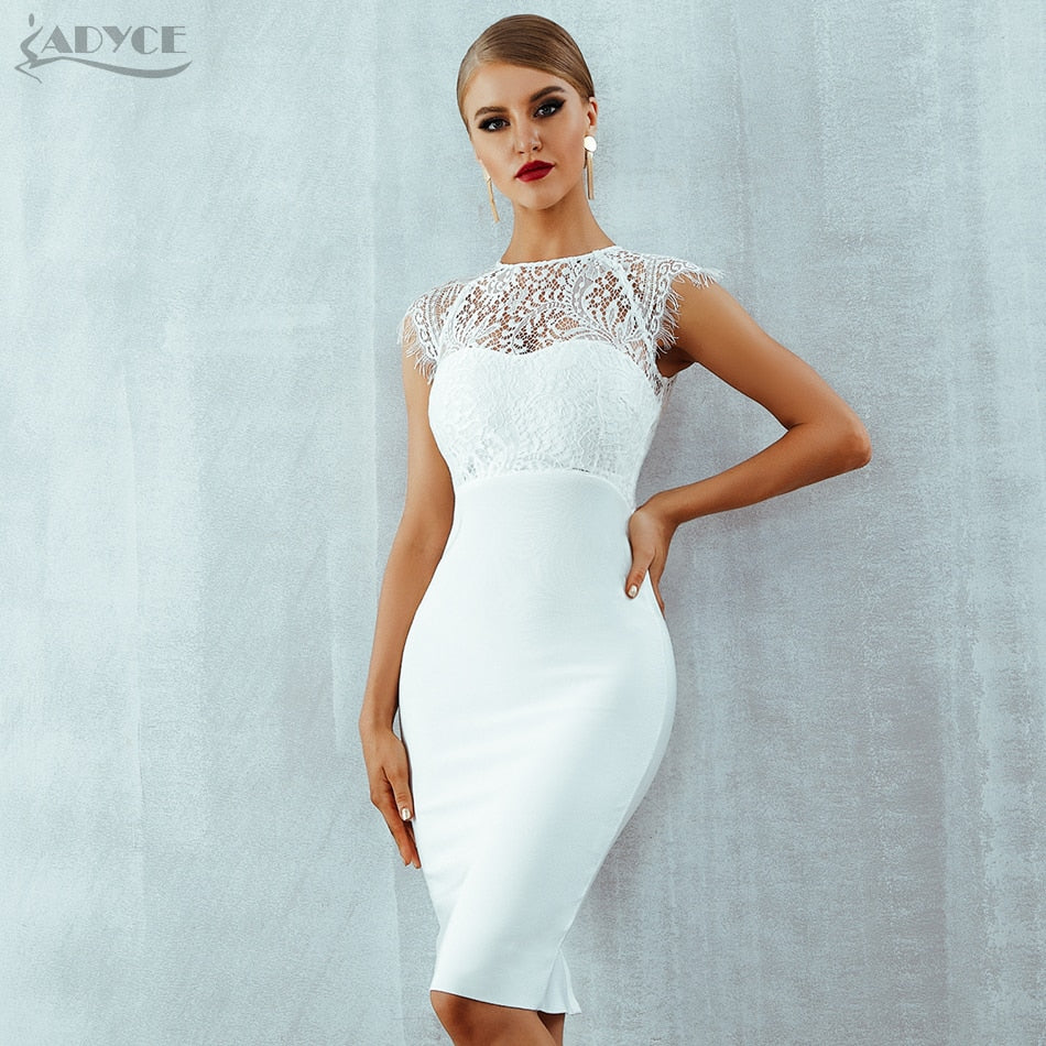 Adyce 2018 New Summer Women Bandage Dress Vestidos Sexy White Lace Short  Sleeve Hollow Out Midi ... 872d75c059965