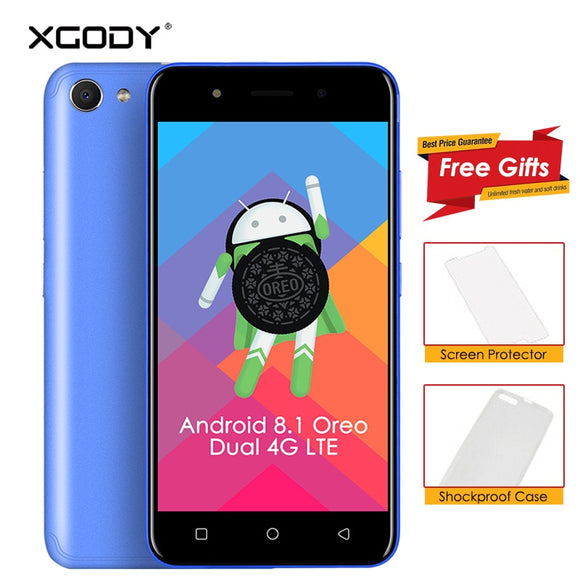Android 8.1 XGODY X6/24 Dual 3G/4G LTE Smartphone 5 Inch MT6739 Quad Core 1GB+8GB 2500mAh Bluetooth 4.0 Mobile Phone Cellphone