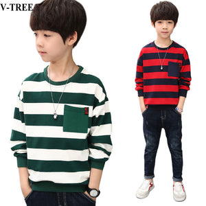 Autumn Spring Boys T-shirt Long Sleeve Tops For Kids Teenager School Sweatshirts Striped Children Tees 8 10 12 Years Clothing