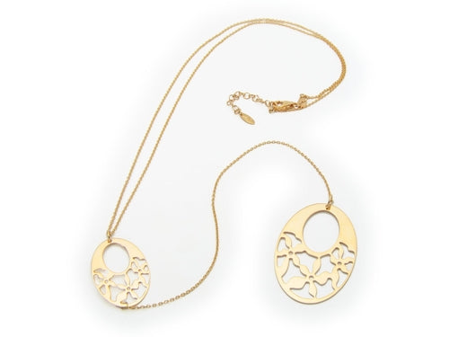 Laser Cut Golden Oval Engravings Lariat